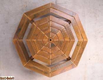 Table de jardin octogonale avec banc intégré en bois massif ...