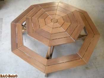 la table octogonale bac bois. Black Bedroom Furniture Sets. Home Design Ideas